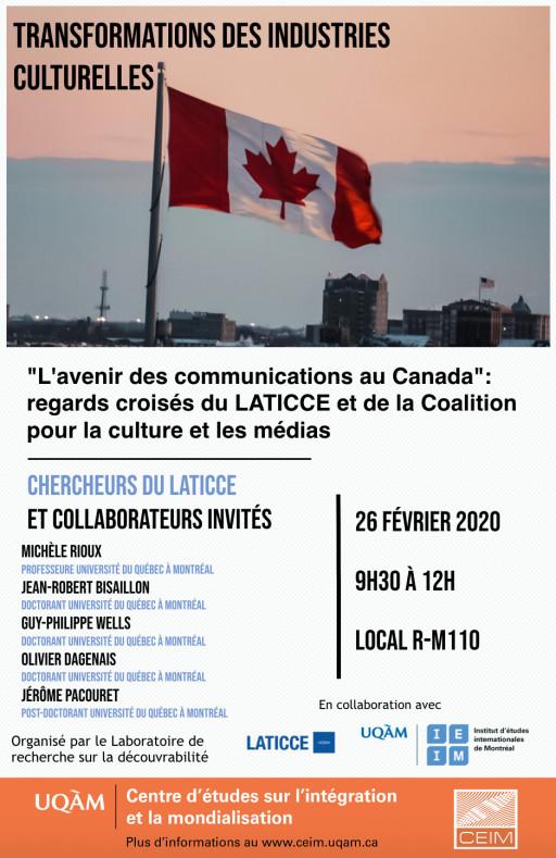 «L'avenir des communications au Canada»: regards croisés du LATICCE et de la Coalition pour la culture et les médias