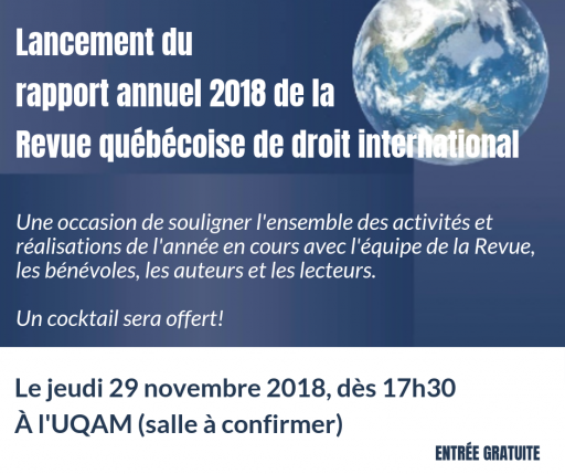 Lancement du rapport annuel 2018 de la Revue québécoise de droit international