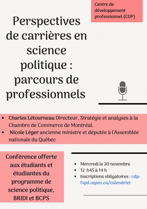 Perspectives de carrières en science politique : parcours de professionnels