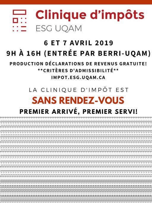 Clinique d'impôt 2019 ESG UQAM