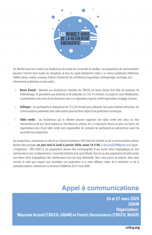 Appel à communications : Rendez-vous de la Recherche Émergente 2020
