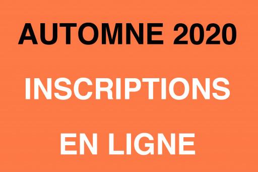 Inscription pour trimestre d'automne 2020