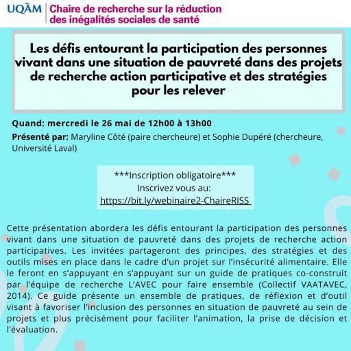 Les défis entourant la participation des personnes vivant dans une situation de pauvreté dans des projets de recherche action participative et des stratégies pour les relever