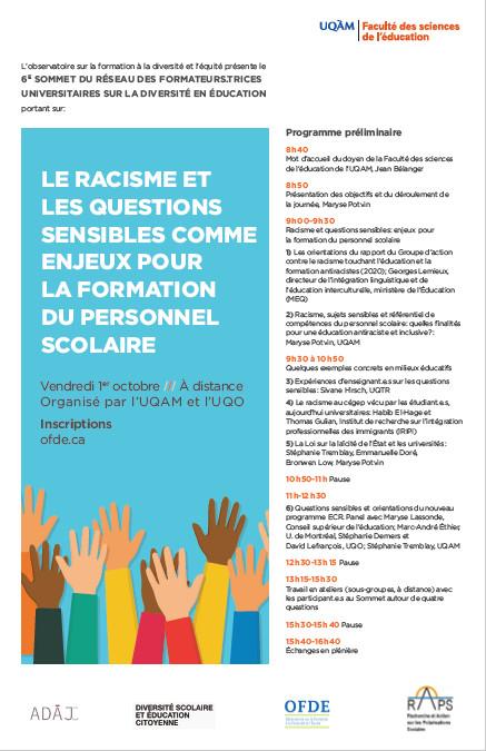 6e Sommet du réseau des formateurs.trices universitaires sur la diversité en éducation: «Le racisme et les questions sensibles comme enjeux pour la formation du personnel scolaire»