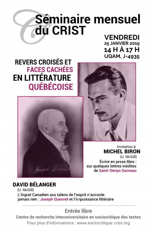 Revers croisés et faces cachées en littérature québécoise - Séminaire mensuel du CRIST