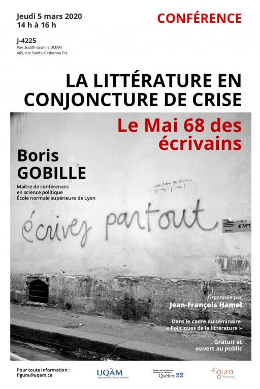 «La littérature en conjoncture de crise: le Mai 68 des écrivains» par Boris Gobille
