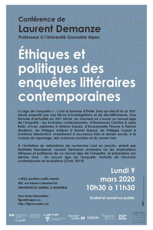 «Éthiques et politiques des enquêtes littéraires contemporaines» par Laurent Demanze