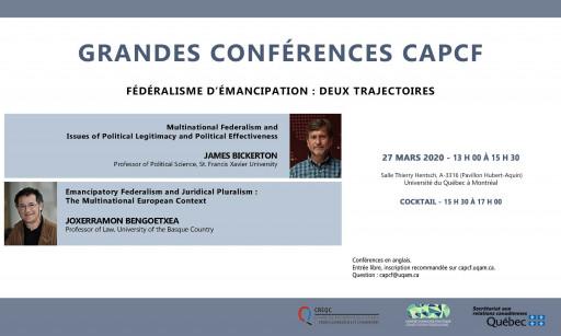 Grandes conférences du CAPCF: «Fédéralisme d'émancipation : deux trajectoires»
