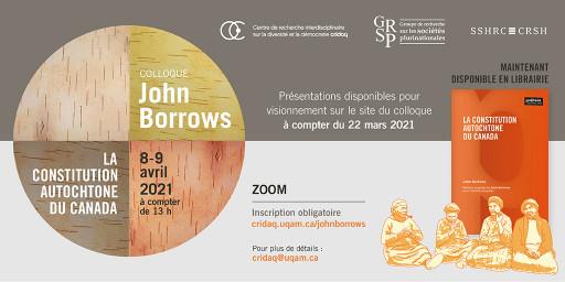Colloque John Borrows: «La Constitution autochtone du Canada»