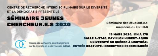 Séminaire Jeunes chercheur.e.s 2020 du CRIDAQ