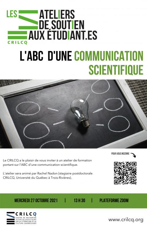 Atelier de soutien: «L'ABC d'une communication scientifique»