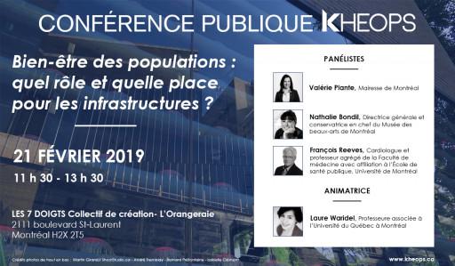 Conférence publique KHEOPS: «Bien-être des populations : quel rôle et quelle place pour les infrastructures?»