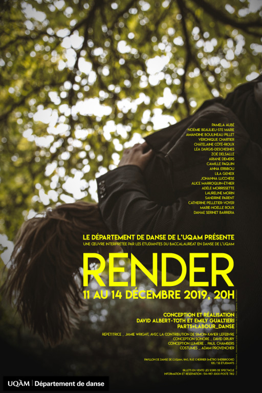 «RENDER» : Spectacle de fin de session du Département de danse