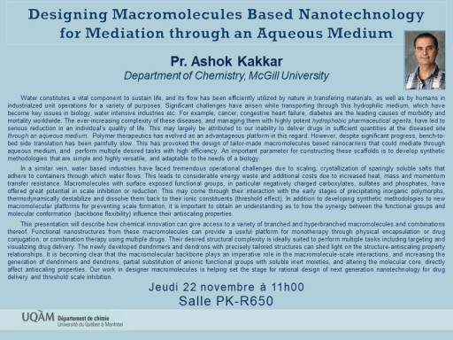 Designing Macromolecules Based Nanotechnology  for Mediation through an Aqueous Medium