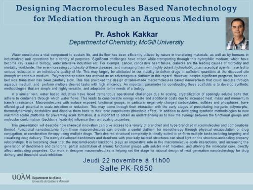 Designing Macromolecules Based Nanotechnology  for Mediation through an Aqueous Medium