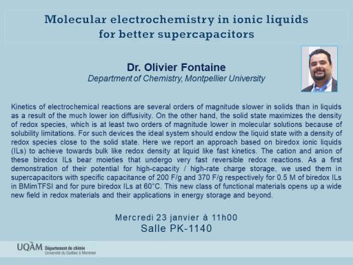 Conférence du Dr. Olivier Fontaine, Department of Chemistry, Montpellier University
