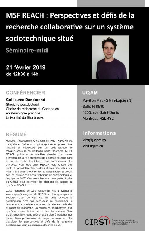 Séminaire-midi: «MSF REACH : Perspectives et défis de la recherche collaborative sur un système sociotechnique situé»
