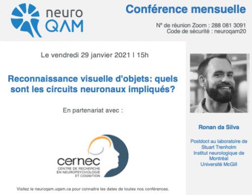 Conférence NeuroQAM: «Reconnaissance visuelle d'objets et circuits neuronaux»