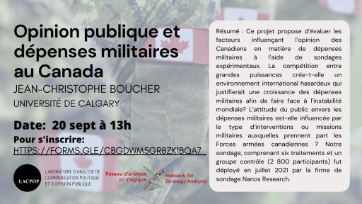 Opinion publique et dépenses militaires au Canada