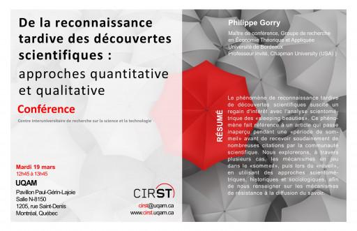 De la reconnaissance tardive des découvertes scientifiques : approches quantitative et qualitative