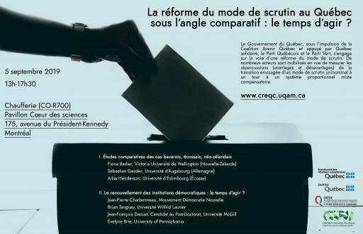 La réforme du mode de scrutin au Québec sous l'angle comparatif: le temps d'agir