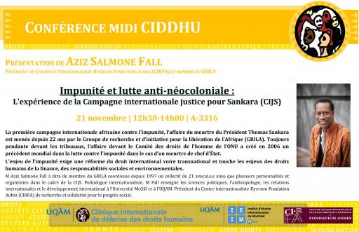 Impunité et lutte anti-néocoloniale : L'expérience de la Campagne internationale justice pour Sankara (CJIS)