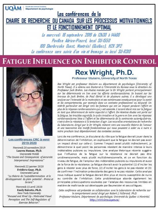 Conférence de Rex Wright Ph.D.: «Fatigue Influence on Inhibitor Control»