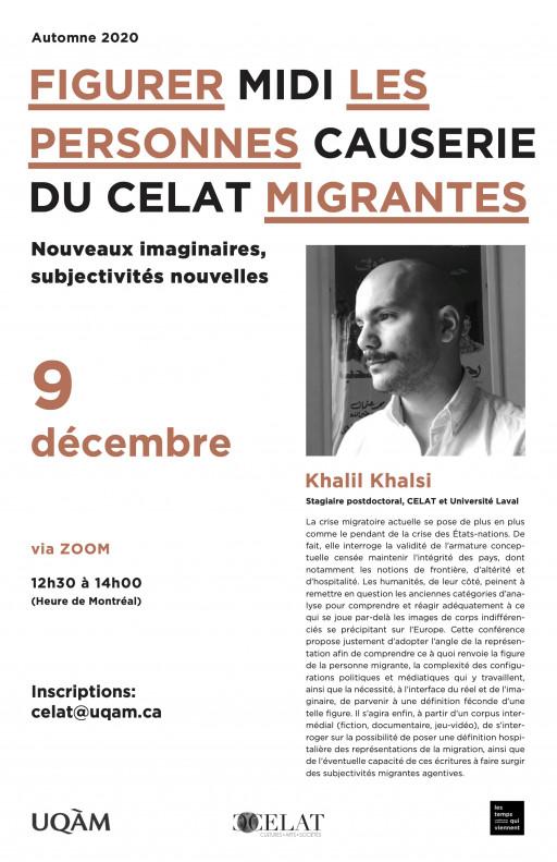 Midi-causerie du CELAT-UQAM : «Figurer les personnes migrantes» par Khalil Khalsi