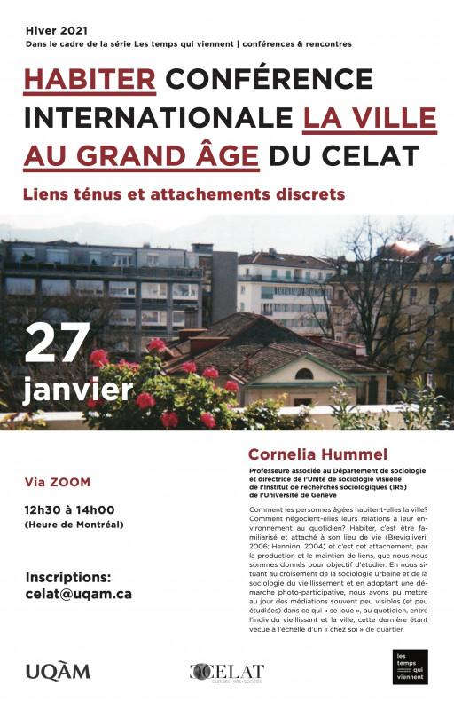 Conférence internationale du CELAT-UQAM: «Cornelia Hummel sur «Habiter la ville au grand âge»»