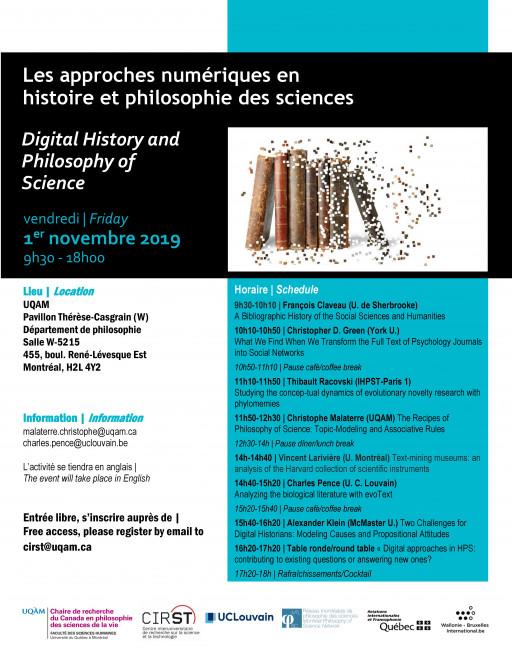 Les approches numériques en histoire et philosophie des sciences