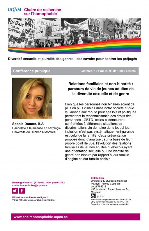 CONFÉRENCE PUBLIQUE | Relations familiales et non-binarité : parcours de vie de jeunes adultes de la diversité sexuelle et de genre